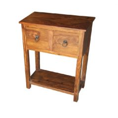 sheesham wood two drawer console table