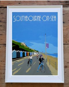 Vintage style Southbourne on sea beach huts framed print