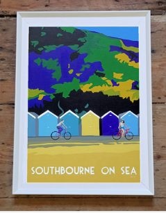 Vintage style Southbourne on sea framed print