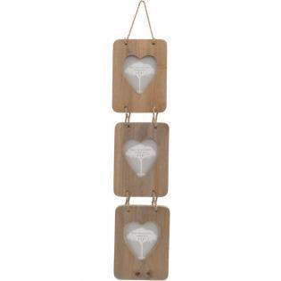 hanging heart driftwood triple photoframe