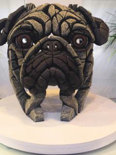hand-painted modern pug sculpture