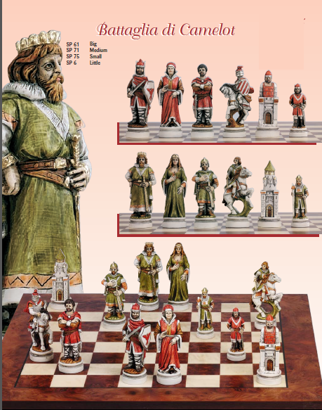 Handmade Italian Nigri chess set of battle Camelot