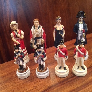 handmade Italian Nigri Scacchi chess set – battle of Waterloo
