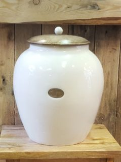 handmade mango wood bread crock, ceramic, kitchenware