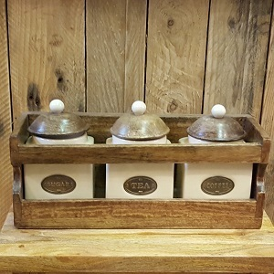 rack of tea coffee sugar
