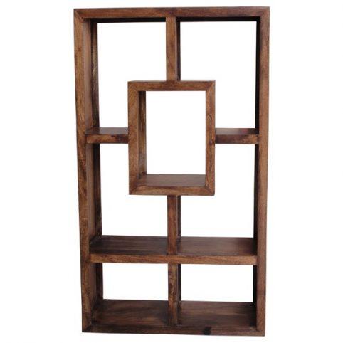 Dark mango wood 7 shelf modern geometric design bookcase/display unit