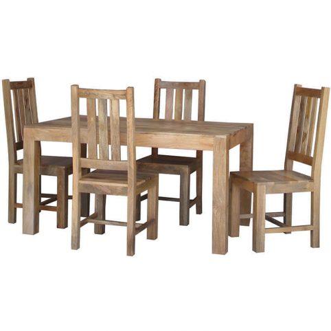 145cm light mango wood 4-seater dining table