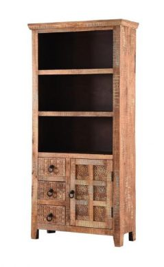 Hand-carved re-claimed natural mango hardwood bookcase