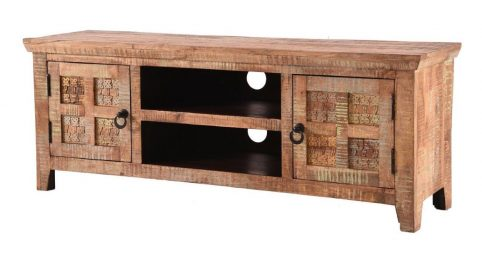Handcarved Indian Rustic Painted Wooden Furniture Range (Kerala range) 2 Doors TV and Media Stand