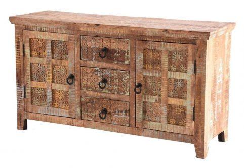 Handcarved Indian Rustic Painted Wooden Furniture Range (Kerala range)3 Drawers and 2 Doors Sideboard