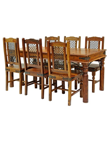 175cm Sheesham Wood Colonial Jali Style Dining Table with metal insert