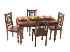 sheesham wood colonial style dining table with 4 chairs