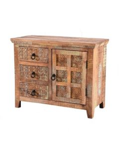 Handcarved Indian Rustic Painted Wooden 3-Draw and 1-Door Sideboard (Kerala range)