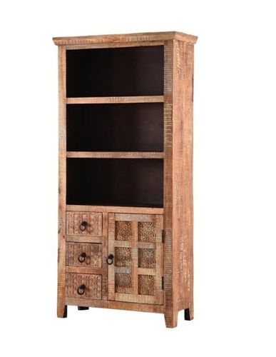 Handcarved Indian Rustic Painted Wooden Bookcase (Kerala range)