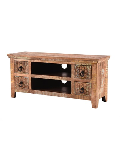 Handcarved Indian Rustic Painted Wooden Furniture Range (Kerala range) 4 Drawers TV and Media Unit