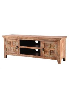 Handcarved Indian Rustic Painted Wooden Furniture Range (Kerala range) 2 Doors TV and Media Stand