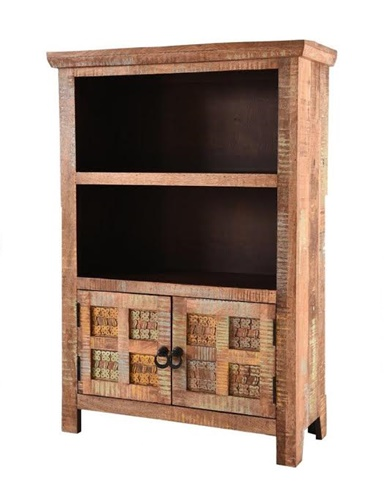 Handcarved Indian Rustic Painted Wooden 2-Door Small Bookcase (Kerala range)