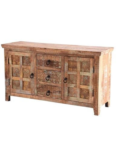 Handcarved Handpainted Indian Rustic light mango wood3-Drawer and 2-Door Sideboard