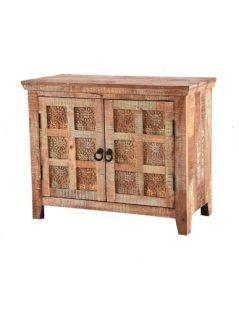 Handcarved Indian Rustic Painted Wooden2-Door Sideboard
