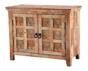 Handcarved Indian Rustic Painted Wooden 2-Door Sideboard
