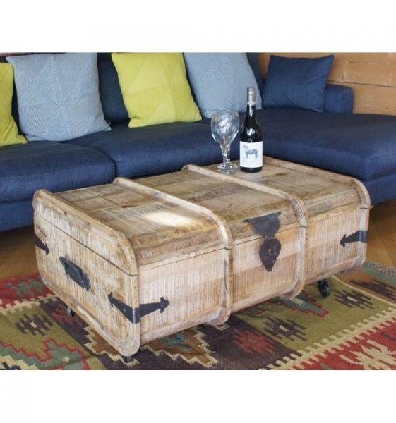 Light Mango Wood Trunk Coffee Table Blanket Box On Wheels