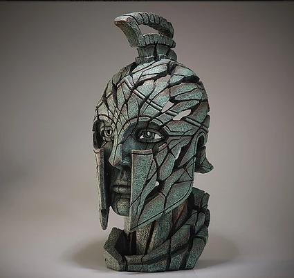 Handpainted modern spartan warrior sculpture from UK
