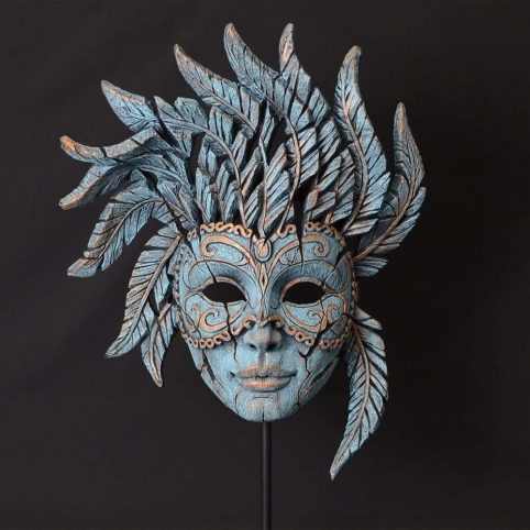 handpainted Ventian mask sculpture in teal color