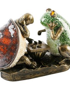 Crackled Glass Frog and Tortoise Lamp