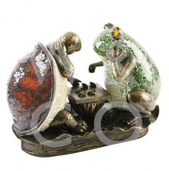 crackled glass tortoise and frog lamp