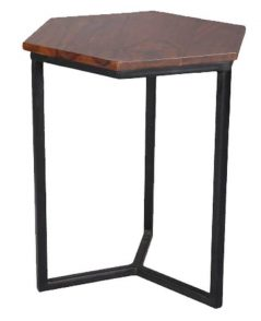 Indian sheesham wood hexagonal shape lamp table with metal base