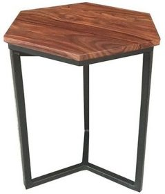 Industrial Style Indian Sheesham Wood Hexagonal Lamp Table