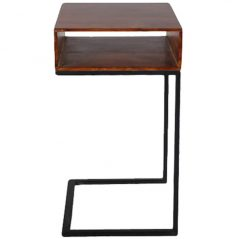 Industrial style sheesham wood side table with metal iron stand