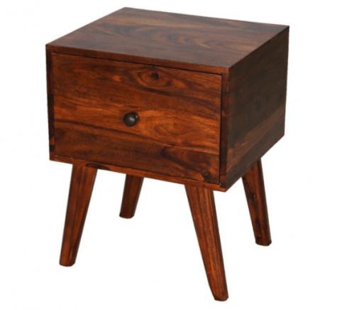 Retro style Indian sheesham wood bedside table