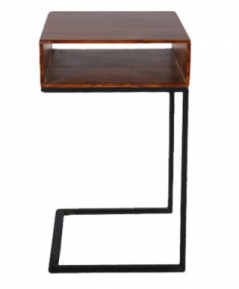 sheesham wood side table with metal stand