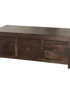 Indian Dakota dark mango wood coffee table 6 drawers