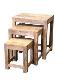 Indian Dakota light mango wood nest of 3 tables