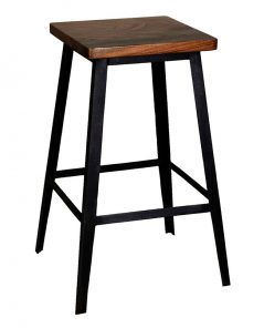 industrial style sheesham wood square shape bar stool
