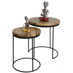 Set of 2 light mango wood round tables stools with metal legs