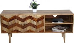 Zigzag themed TV cabinet in light mango wood with wooden legs (2)