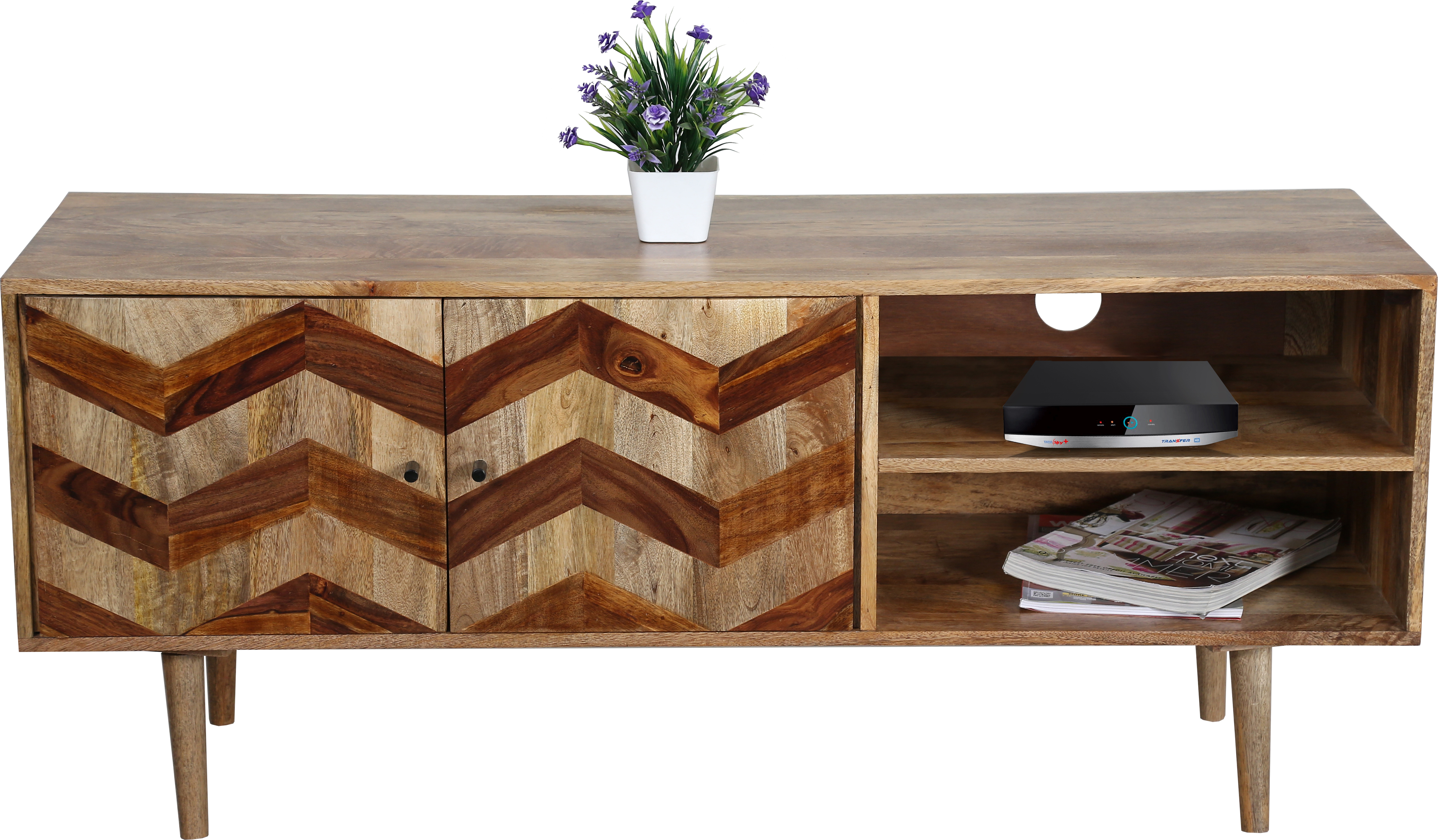 Zigzag Themed Tv Cabinet In Light Mango Wood With Wooden Legs # Wooden Art Meuble Tv