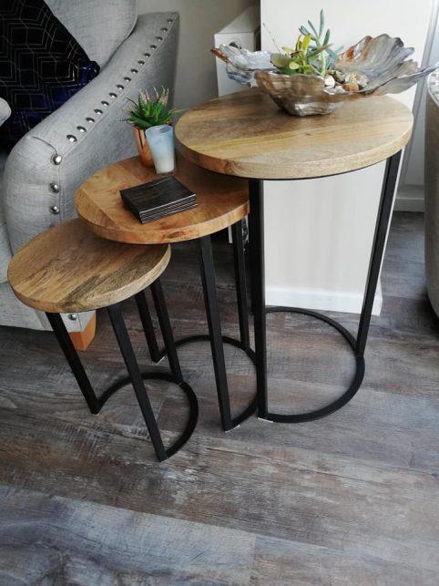 industrial light mango wood nest of 3 tables