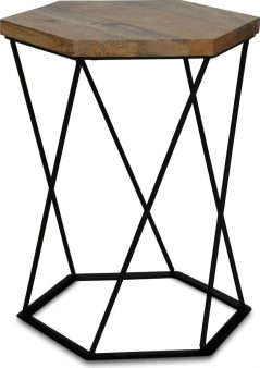 industrial style light mango wood hexagnol lamp table with metal iron stand