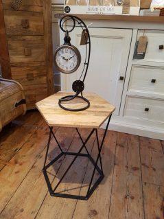 Industrial Style Hexagonal Light Mango Wood Side Table