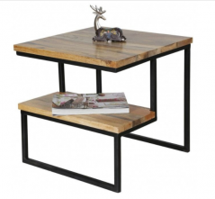 industrial style light mango wood side table with a shelf