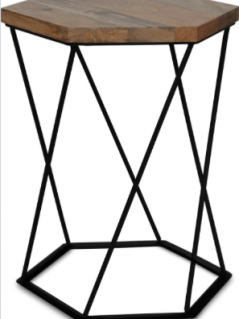 industrial style side table made with light mango wood and metal