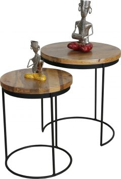 nest of 2 industrial style tables with light mango wood top and metal stand
