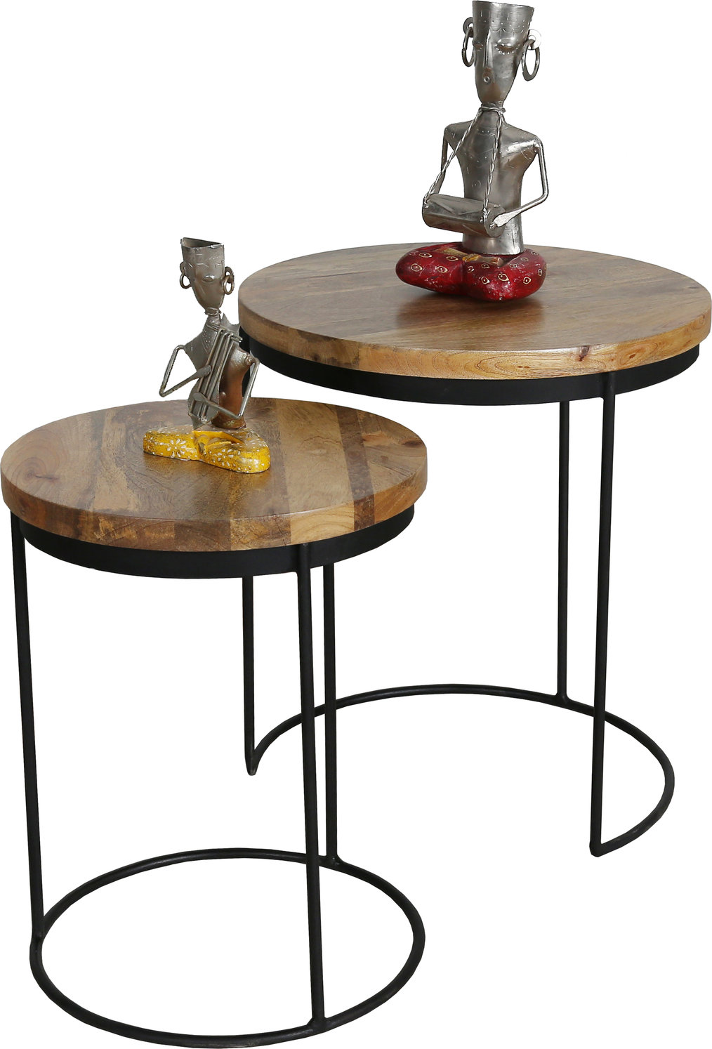 Nest Of 2 Industrial Style Tables With Light Mango Wood Top And Iron Stand
