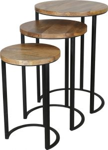 nest of 3 industrial style tables made with light mango wood top and metal stand