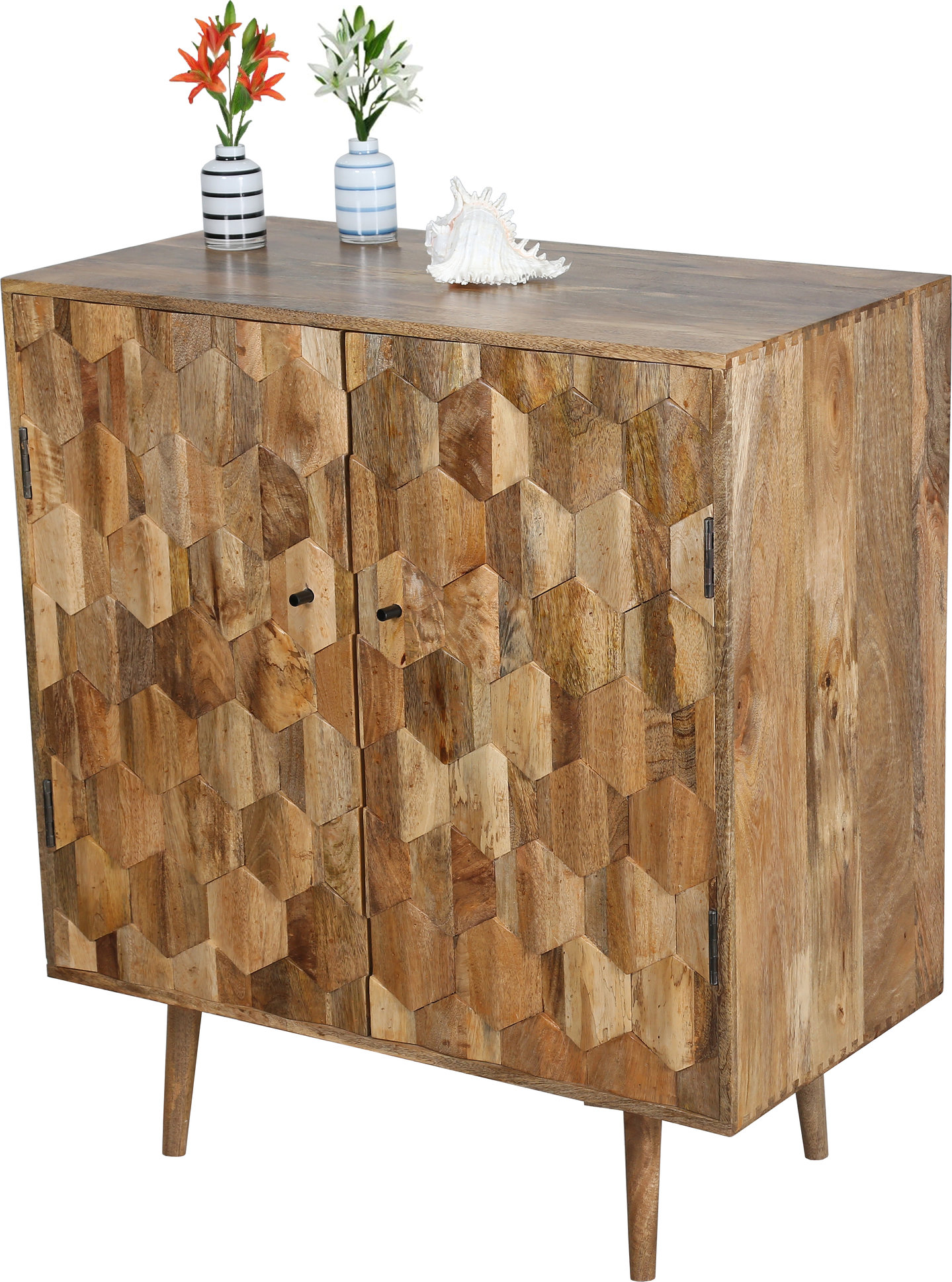 2 door hexagonal pattern cabinet in light mango wood