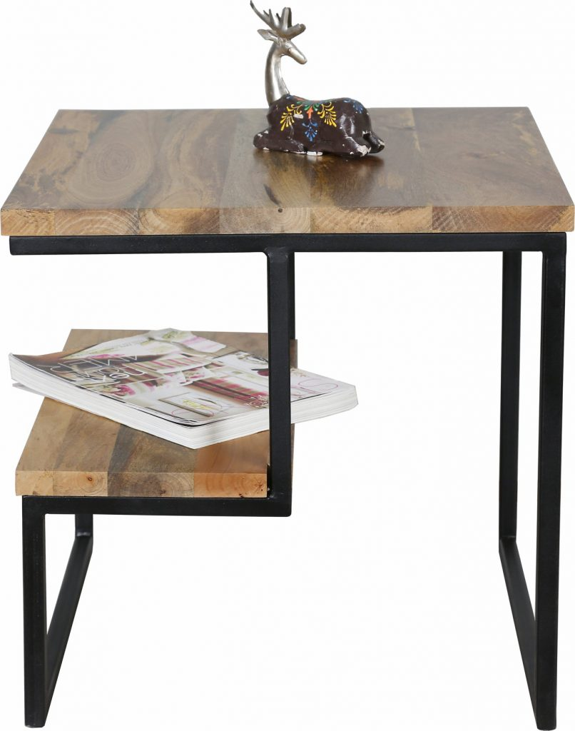 contemporary industrial style sidetable with rustic theme